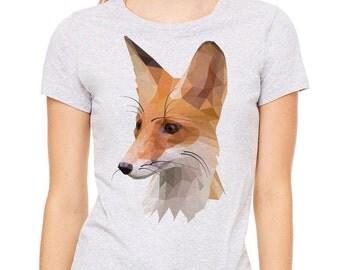 Fox polygon image  printed on a heather gray t-shirt, women's t-shirt, gray tee
