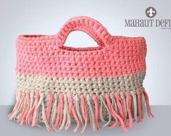 Crocheted - tote bag sorbet Vanilla Strawberry
