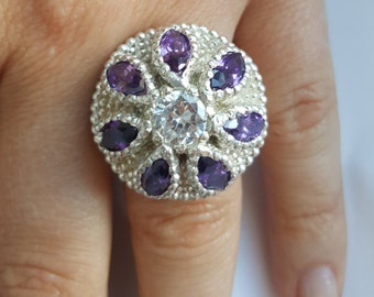Gift for her. Beautiful Abstract Flower Ring. 3D printed top of the ring and cast. Purple amethysts marquis stones and white zirconia