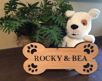 Dog Bone Custom Carved Personalized Pet Name Sign or Rectangle Custom Personalized Pet Name Signs.