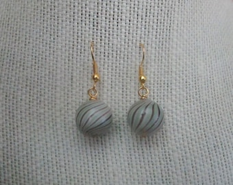 Chocolate Mint Ball Earrings