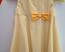 Age 2 - 3 years, A Handmade 100% Cotton Little girls Summer dress, Cool Yellow Striped design Party dress,