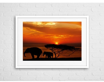 Elephants in Africa Art Photo Print with frame