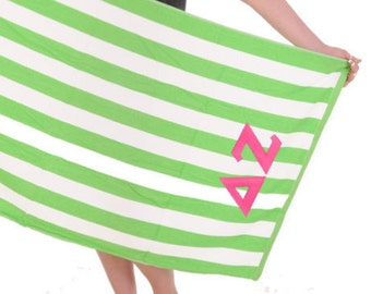 Delta Zeta Towel Stripes . Pink Greek Letters