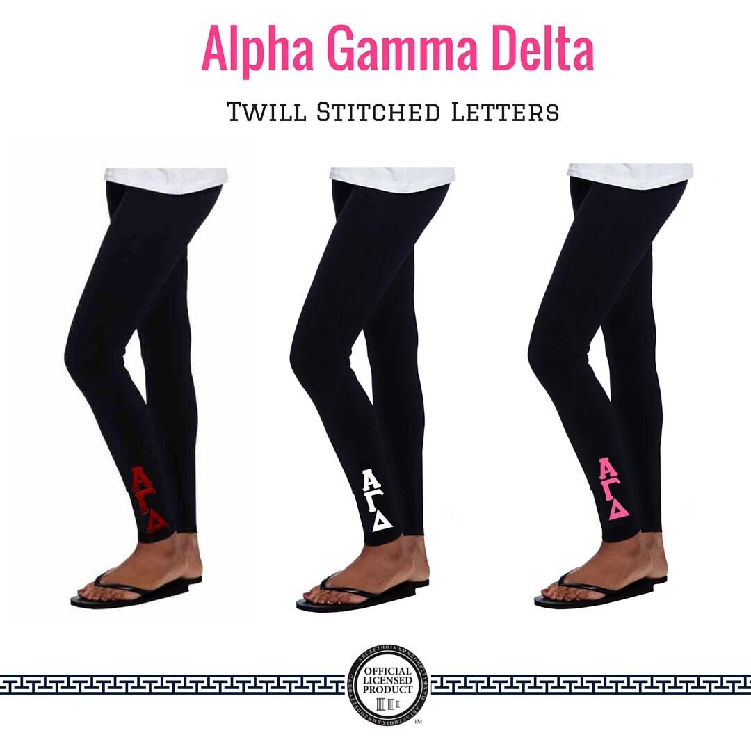 alpha gamma delta leggings 2 inch custom stitched twill With alpha gamma delta stitched letters