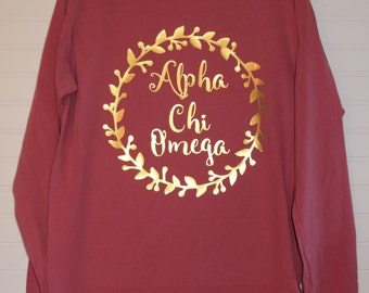 Alpha Chi Omega 102 Wreath Comfort Color TShirt, Short Sleeve or Long Sleeve with Glossy Gold Letters