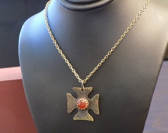 Brass Maltese Cross with Carnelian