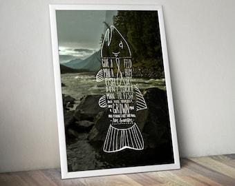 Ron Swanson Fish Print