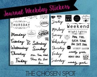 Bullet journal stickers, days of the week, printable stickers, black and white, handwritten, journal accessories, bujo accessories, digital