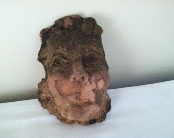 vintage/antique mid century modern architectural face pottery/clay/garden/wall art