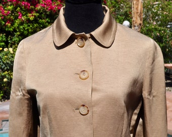 Vintage 90s DKNY Creamy Gold Colored Silk and Linen Jacket Blazer  Sz 4
