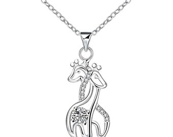 Silver Plated Giraffe Necklace