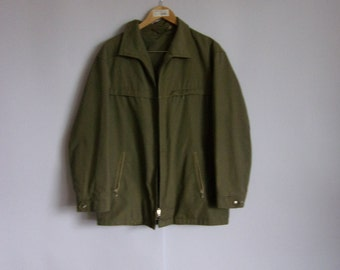 Green Men s Jacket Cool Time Jacket With Several Pockets and Zipper  Vintage Jacket 90s