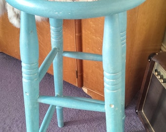 Turquoise/Blue Tall Stool