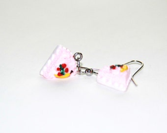 Strawberry Fruit Cake Earrings // Polymer Clay