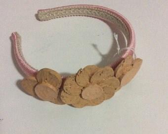 Cork flower hairband