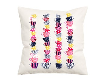 Stacked Tea Cup Pattern-  Decorative Pillow-Throw Pillow Cover