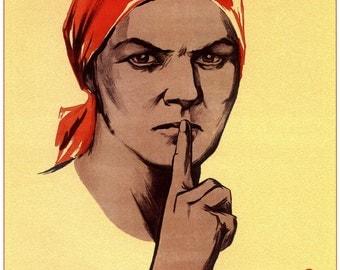 LARGE SIZE Vintage Soviet Russian Propoganda Poster / Do Not Gossip / 1941 / Big Poster / Large Poster / Large Print / Big Print