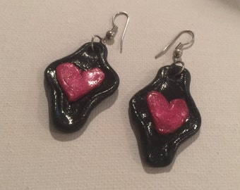 Black Clay Heart Earrings