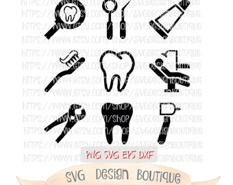 Dental Bundle SVG - Dental Tools SVG - Tooth Svg  - Dentist Svg - Svg Design -  SVG bundle for Dentist - Vinyl cutting File  - Dxf