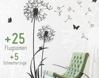 Wall flower and butterflies - dandelion wall stickers wall stickers mural for living room bedroom nursery w306