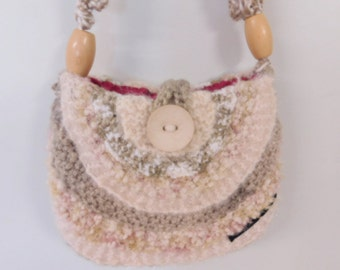 Beautiful bag, handmade cream handbag, shoulder bag, knitted bag in a variety of yarns