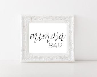 Mimosa Bar Sign - Mimosa Bar Printable - Brunch and Bubbly - Mimosa Sign - Wedding Drink Sign - Bridal Shower Sign - Bridal Shower Signage