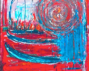 EYE of the STORM asttatto red and blue acrylic material art