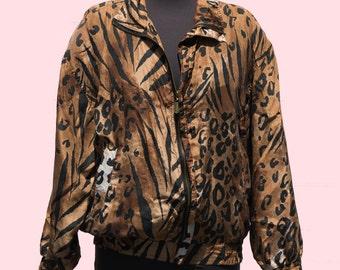 Vintage Silk Jacket Leopard Cheetah Print