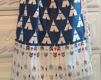 Girls Pillowcase Dress-Teepees and Arrows