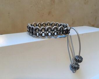 Leather & Gunmetal Double Chain Bracelet