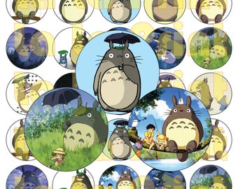 35 Totoro Digital Party Stickers Circles size 1'' and 1.5''  sheet A4 (8.5''x11'') Bottle Cap images Cupcake Toppers Disney