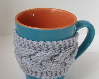 Gray mug cozy, 2 button