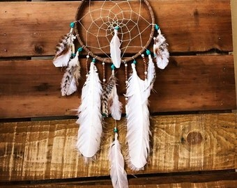 Dreamcatcher with genuine turquoise, Tan suede dreamcatcher, native american dreamcatcher, boho decor, wall hanging, nursery decor, wedding