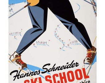 Ski School Travel Poster - Vintage New Hampshire Travel Print Art - Home Decor - North Conway New England