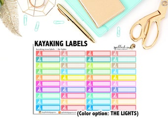 Kayaking Stickers, Boating Labels, ECLP Erin Condren Life Planner stickers