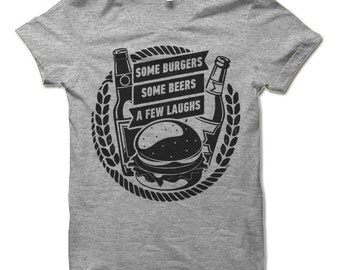 Some Burgers Some Beers A Few Laughs T Shirt. Funny The Big Lebowski T-Shirt. Walter Sobchak Shirt.