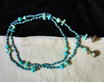 Handmade patent Glass Beads necklace -  Can be worn in several ways- One of a Kind - Unique NEW!