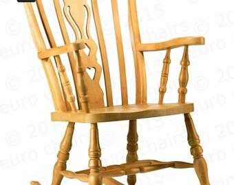 Farmhouse Fiddle-Back Rocking Chair: