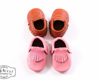 Genuine Cow Leather Fringe Baby Moccasins.