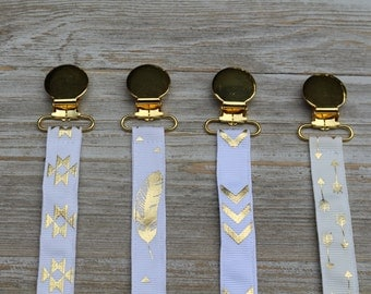 FREE SHIPPING >>White Tribal Pacifier Clip<< Choose which style