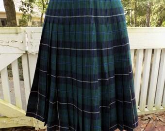 Vintage 2-Sided Plaid Pleated Wool Skirt Waist 22