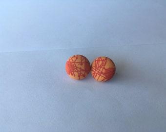 Party! Orange Button Earrings