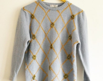 Vintage angora and lambswool wool jumper pale blue with gold embellishment 1980s Size 10 Small