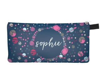 Space Pencil Case, Galaxy Pencil Pouch, Personalized Pencil Case, Monogram Pencil Case, Blue Pencil Case, Custom Pencil Pouch, Zipper Pouch