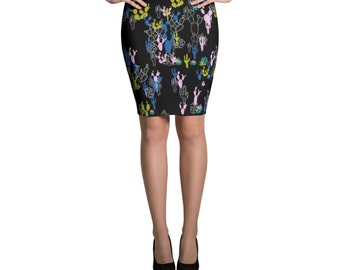 Cactus Skirt, Black Skirt, Cactus Print, Jersey Skirt, Fitted Skirt, Bodycon Skirt, Mini, Printed Skirt, Pencil Skirt, Succulents Print,