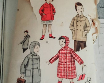 1957 Vogue 2973 Child's Double Breasted Coat Size 3 CUT Sewing Pattern