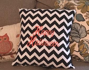 Chevron Pillow Cover with Happy Halloween