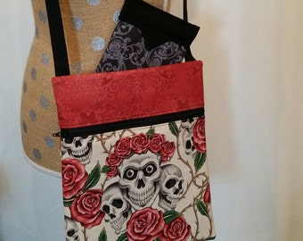 Handmade Purse by CMarie with Skull and Roses Cotton Fabric