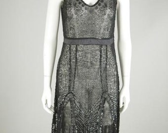 Sheer Deco-Inspired Black Beaded Dress